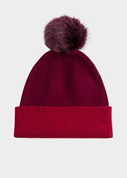 Paul Smith Women's Burgundy Pom-Pom Wool Beanie Hat