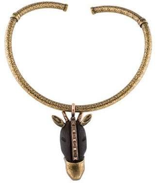 Valentino Giraffe Pendant Collar Necklace Gold Giraffe Pendant Collar Necklace