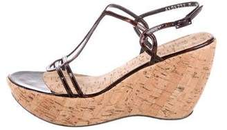 Stuart Weitzman Patent Leather Wedge Sandals
