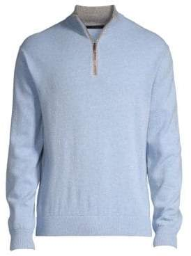 Greyson Sebonack Wool& Cashmere Quarter-Zip Sweater
