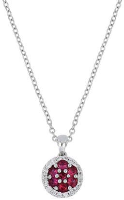 Bony Levy 18K White Gold Prong Set Ruby Cluster & Diamond Halo Round Pendant Necklace - 0.13 ctw