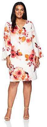 Calvin Klein Women's Plus Size V Neck Sheath with Flutter Bell Sleeve Dress