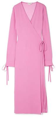 ATTICO Tie-detailed Crepe Wrap Dress - Pink