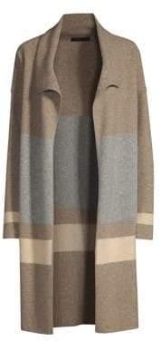 Raffi Cashmere Felt Wool Striped Long Cardigan