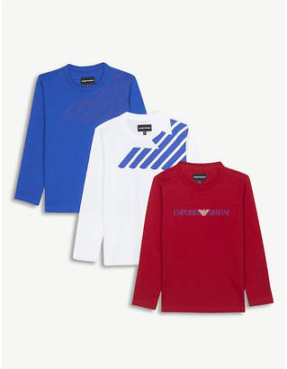 Armani Junior Set of three logo cotton tops 4-16 years