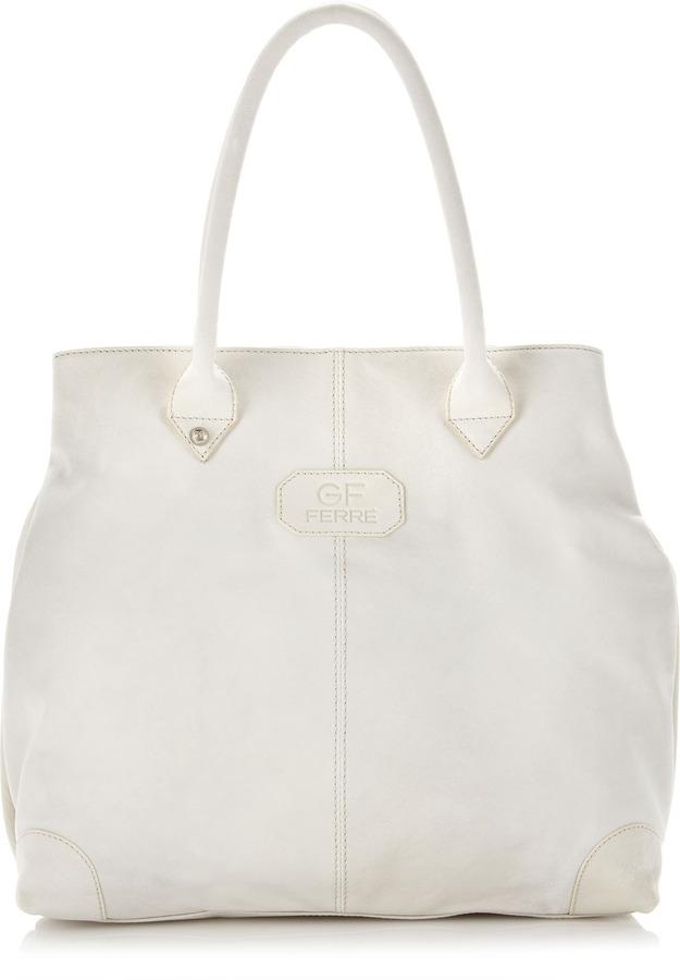 Gianfranco Ferre GF Medium Washed Leather Tote Bag, Off White