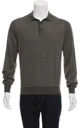 Brunello Cucinelli Cashmere Long Sleeve Striped Polo w/ Tags