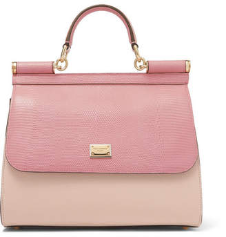 Dolce & Gabbana Sicily Medium Lizard-effect Leather Tote - Pink