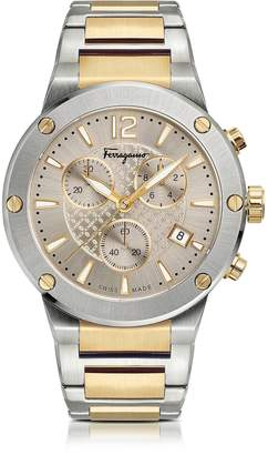 Salvatore Ferragamo F-80 Silver Stainless Steel and Gold IP Men's Chronograph Watch w/Silver Guilloche' Dial