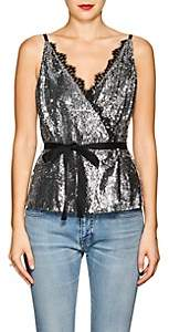 Robert Rodriguez Women's Lace-Trimmed Sequined Wrap-Front Cami-Silver