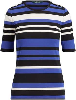 Ralph Lauren Striped Buttoned Jersey Top