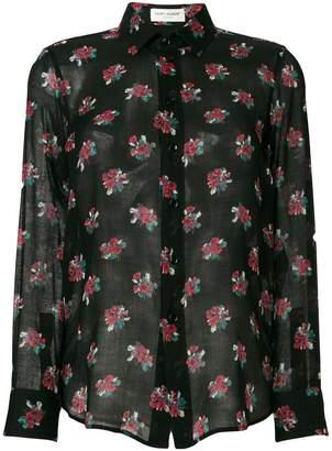 Saint Laurent floral printed sheer shirt