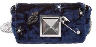 Sonia Rykiel Embellished Quilted Velvet Crossbody Bag