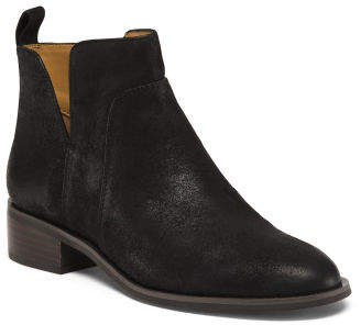 Leather Ankle Pull On Booties