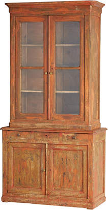 Rejuvenation Tall French Two-Part Bookcase w/ Dry Scraped Original Red Paint