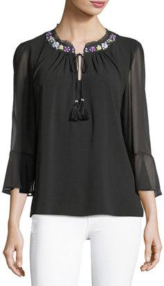 T Tahari 3/4-Sleeve Beaded-Trim Blouse $79 thestylecure.com