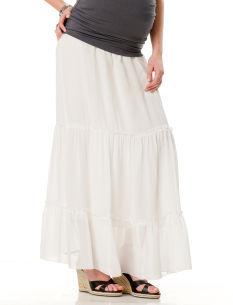 A Pea in the Pod Velvet by GRAHAM & SPENCER Under Belly Full Length Tiered Maternity Skirt