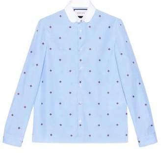 Gucci Bee fil coupé Cambridge shirt