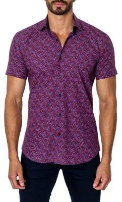Jared Lang Printed Trim-Fit Button-Down Shirt