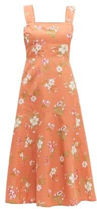 Rebecca Taylor Lita Linen And Cotton Blend Midi Dress - Womens - Coral