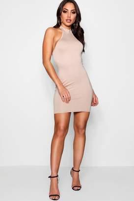 boohoo Helen High Neck Bodycon Mini Dress