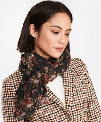 Brooks Brothers Floral-Print Wool Scarf
