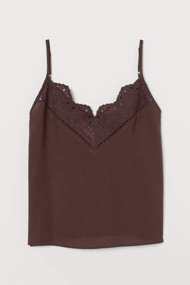 H&M V-neck Camisole Top - Brown