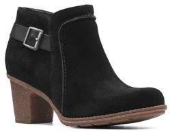 Clarks Sashlin Ester Mid-Heel Suede Ankle Boots