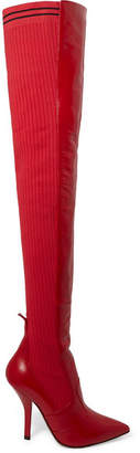 Fendi Rockoko Leather And Ribbed Stretch-knit Thigh Boots - Red