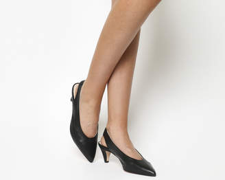 Office Madeleine Softy Slingback Heels Black Leather