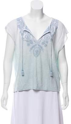Calypso Linen Embroidered Short Sleeve Top