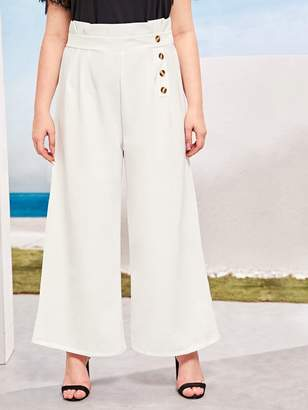 Shein Plus Button Side Paper Bag Wide Leg Pants