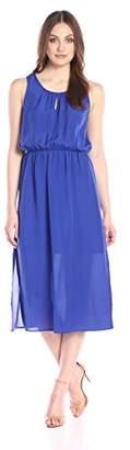 Lark & Ro Women's Sleeveless Gathered Neckline Tea-Length Dress