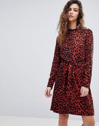 Warehouse Leopard Print Shirt Dress