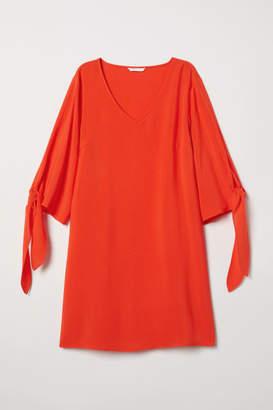 H&M Dress with Tie Sleeves - Orange