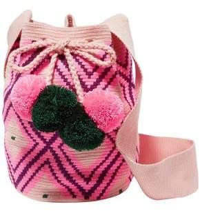 Sophie Anderson Lila Pompom-embellished Woven Bucket Bag