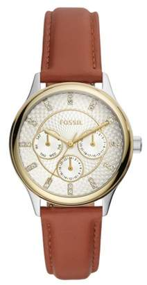 Fossil Modern Sophisticate Multifunction Brown Leather Watch Jewelry