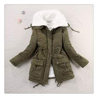Queixiw New 2018 Winter Coat Women Military Outwear-Long Wadded Hooded Snow Parka Thickness Cotton Warm Casual Jacket Plus Size M