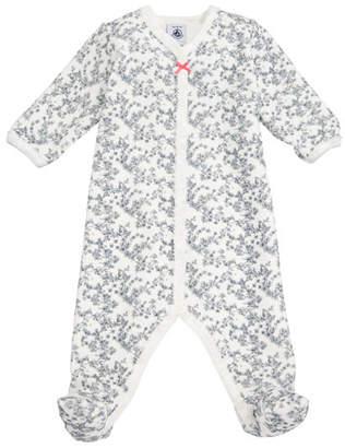 Petit Bateau Floral Velour Footie Pajamas, Size Newborn-6M