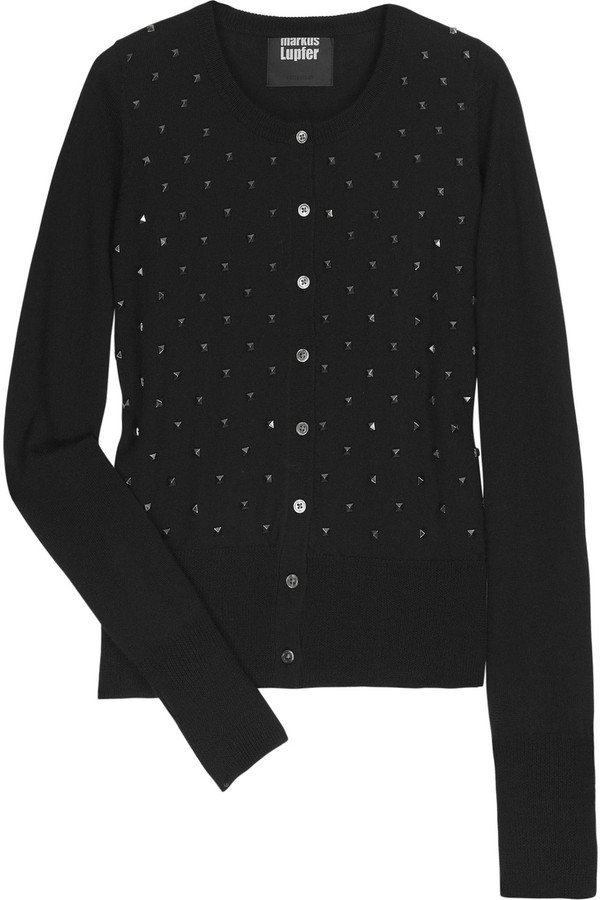 Markus Lupfer April studded merino wool cardigan