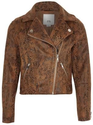 River Island Girls Dark Brown Snakeskin Biker Jacket - Brown