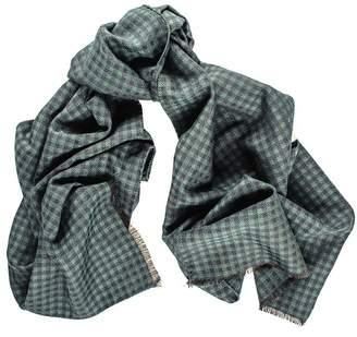 Black Arvo Italian Silk and Wool Houndstooth Scarf