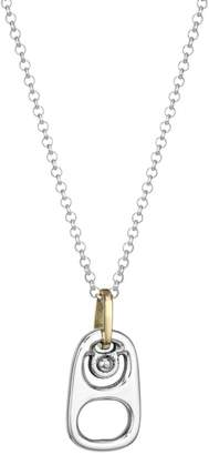 Pop Top Sterling Silver Pendant Micro Rolo Chain Necklace