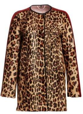 Julia & Stella Leopard-Print Kid Skin& Rex Rabbit Fur-Stripe Jacket