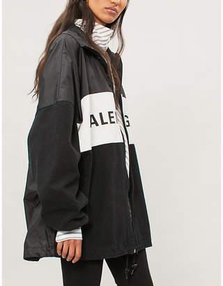 Balenciaga Logo-print nylon and denim jacket
