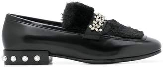 Ash embellished loafers
