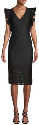 Rachel Roy Women's V-Neck Eyelet Midi Dress