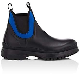 Prada Men's Neoprene-Trimmed Leather Chelsea Boots - Black