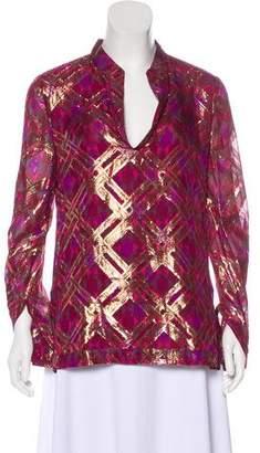 Tory Burch Silk Metallic Geometric Patterned Top