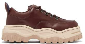 Eytys Angel Exaggerated Sole Leather Trainers - Womens - Burgundy